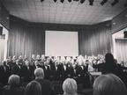 Choir singing with Orpheus Singers at City Temple(B&W)